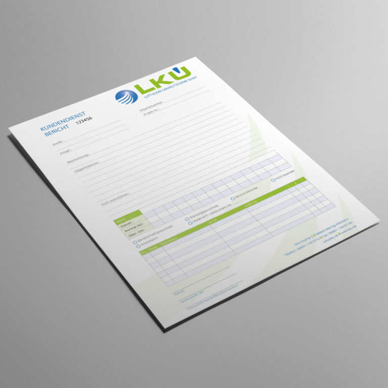 Kundendienstbericht Mockup